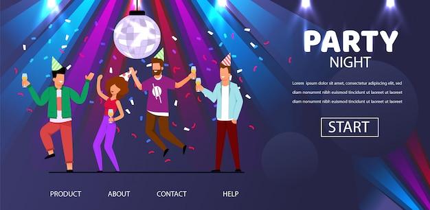Homem, mulher, amigos, dança, partido, noturna, ilustração