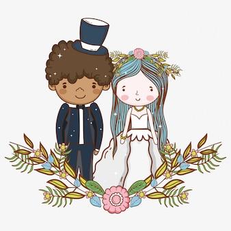 Homem mulher, casório, com, flores, plantas, folhas