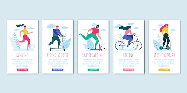 Homem, mulher, ciclismo, skateboading, corrida, passeio, scooter