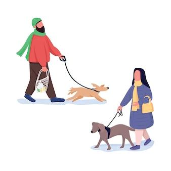 Homem, mulher com cachorro na coleira personagens sem rosto de cor lisa