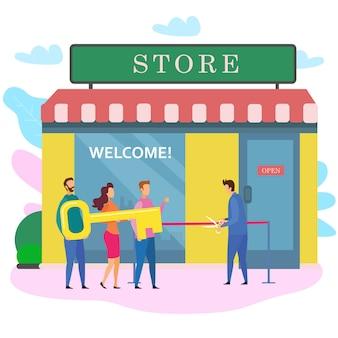 Homem mulher com chave masculino proprietário corta fita vermelha loja