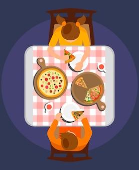 Homem mulher, comer, refeição, vetorial plana, ilustração