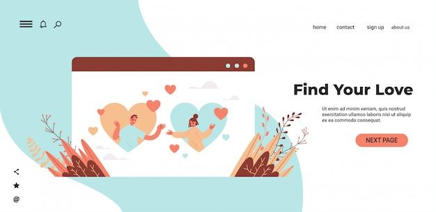 Homem, mulher, conversando, em, namoro online, app, par, com, corações, em, navegador web, janela, relacionamento social, comunicação, conceito, retrato, cópia horizontal, espaço, ilustração