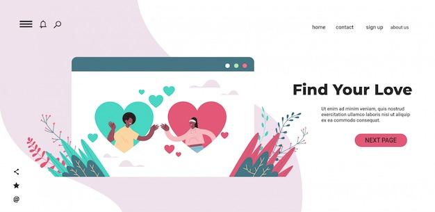 Homem mulher conversando no namoro online app casal americano africano com corações na janela do navegador web relacionamento social comunicação conceito retrato cópia horizontal ilustração espaço