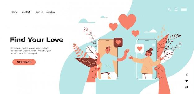 Homem mulher conversando on-line móvel namoro app casal discutindo durante reunião virtual relacionamento social comunicação conceito cópia horizontal ilustração espaço