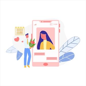 Homem, mulher de saudação, usando o bate-papo por vídeo através do telefone