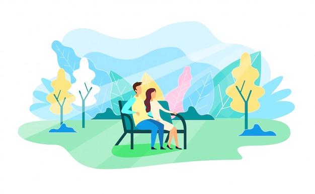 Homem mulher, descanso, em, artificial, parque, ilustração