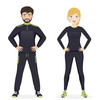Homem mulher, desporto jogando, com, pretas, sportswear