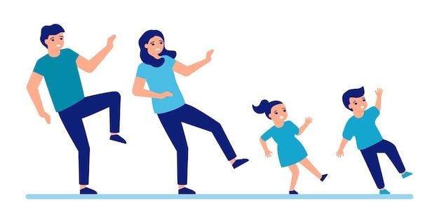 Homem, mulher e crianças escorregam e caem no chão chão escorregadio para as pessoas a família falha Vetor Premium