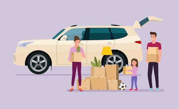 Homem, mulher e menina seguram caixas. mudança de casa. carro suv com porta aberta. ilustração de estilo simples