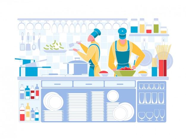 Homem mulher, em, cozinheiro chefe uniforme, cozinhando, ligado, cozinha