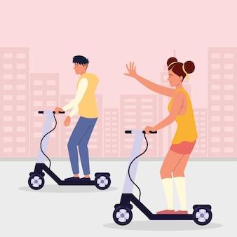 Homem mulher em scooter elétrico na rua