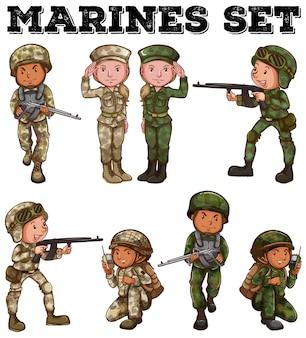 Homem mulher, em, soldado, uniformes