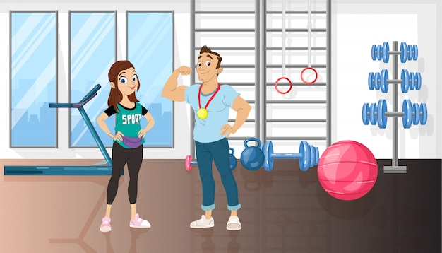 Homem mulher, em, um, esporte, ginásio