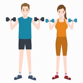 Homem mulher, exercício, com, dumbell, ícone
