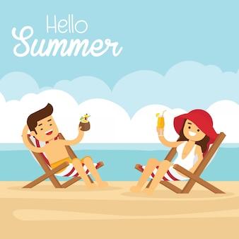 Homem mulher, ir viajar, em, feriado verão, par, praia, em, recurso tropical