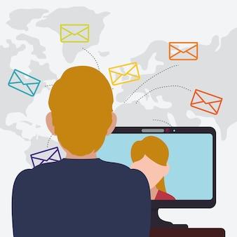 Homem mulher laptop falando e-mail mundo
