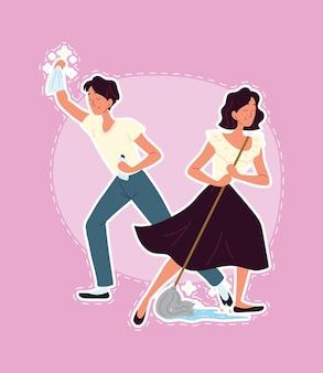 Homem mulher limpando chão