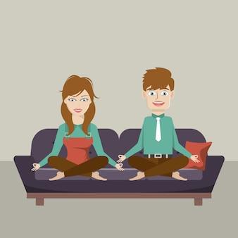 Homem mulher, meditar, sentar sofá