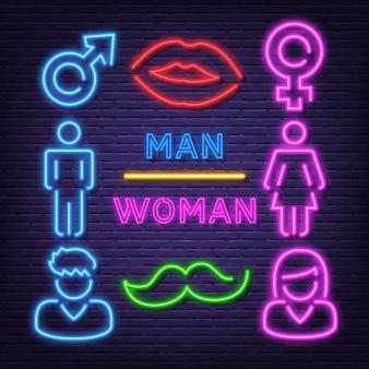 Homem mulher, néon, ícones