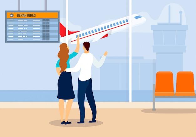 Homem mulher, olhar fixo, partindo, avião