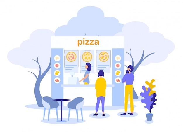 Homem mulher, ordenando, pizza, em, rua, alimento, café