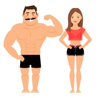 Homem mulher, par muscular