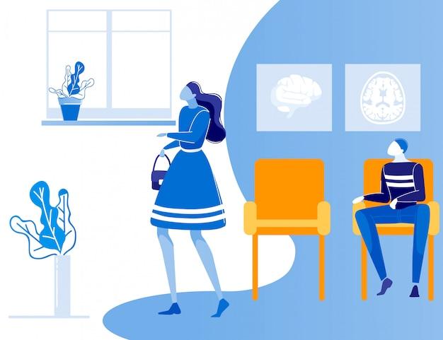 Homem mulher pessoas fila no hospital corredor dos desenhos animados