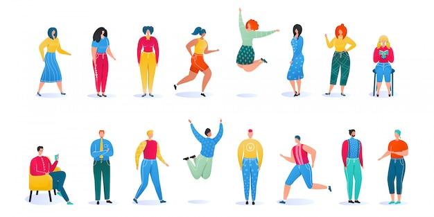 Homem-mulher posa conjunto de ilustração, desenho animado de pessoas sem rosto em roupas casuais, em pé ou posando, pulando no branco