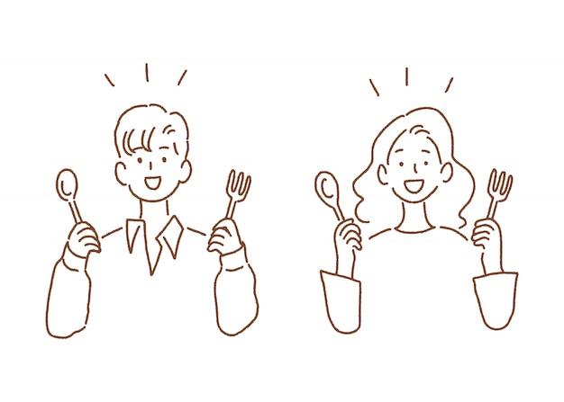 Homem mulher, segurando, colher garfo
