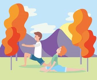 Homem mulher, treinamento, ioga posa
