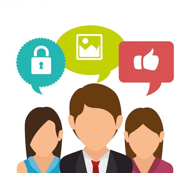 Homem mulheres social media isolado ícone do design