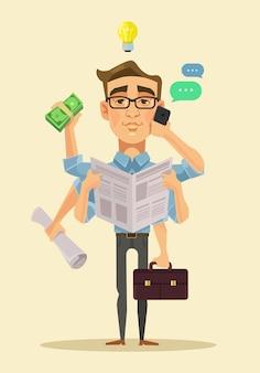 Homem multitarefa, ilustração plana dos desenhos animados