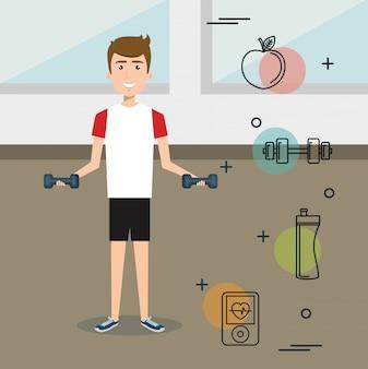 Homem musculação com ícones de esportes