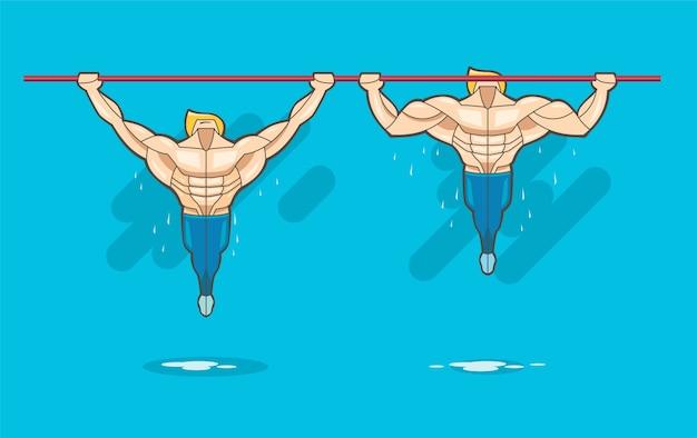 Homem musculoso pendurar na barra e levantar para treinamento de força