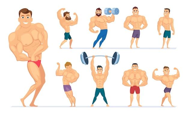 Homem musculoso. personagens de ginásio esporte pessoas fazendo exercícios fisiculturistas posando atletas musculosos. vector body fitness, ilustração de pose saudável de musculação