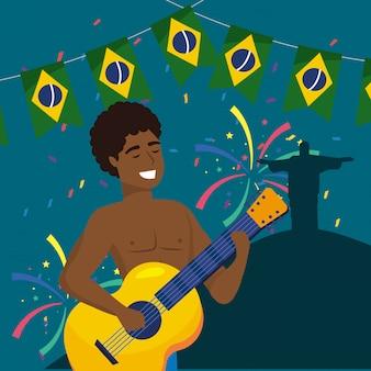 Homem, músico, com, guitarra, e, partido, brasil