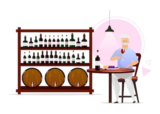 Homem na adega de vinhos ilustração colorida design plano
