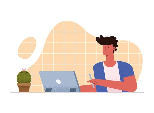 Homem na aula virtual