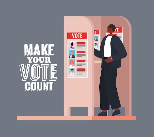 Homem na cabine de votação com design de texto de contagem de votos, tema do dia de eleições.