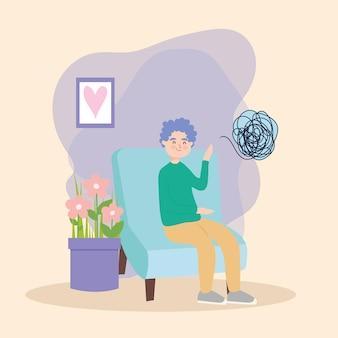 Homem na cadeira com depressão de terapia virtual