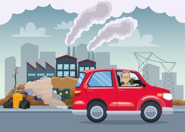 Homem na cena poluente do carro