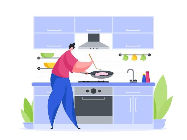 Homem na cozinha preparando um desenho animado de ilustração de bife