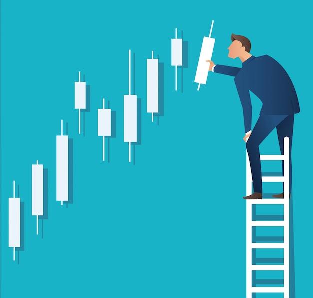 Homem na escada com fundo de gráfico de castiçal