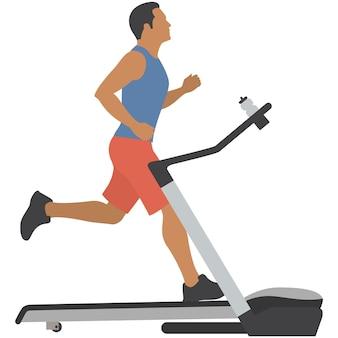 Homem na esteira, vetor, ginástica, esporte, máquina, fitness