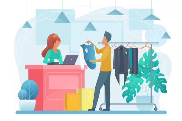 Homem na ilustração de loja de roupas. personagens de desenhos animados do comprador e do vendedor.