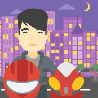 Homem na ilustração do vetor do capacete do motociclista.