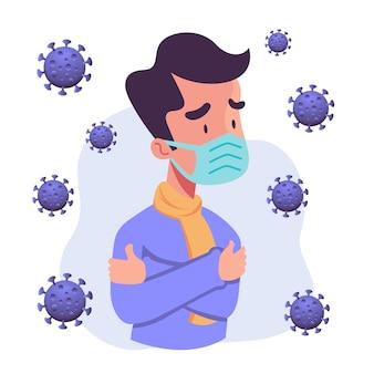 Homem na máscara suspeita ilustração de vírus corona