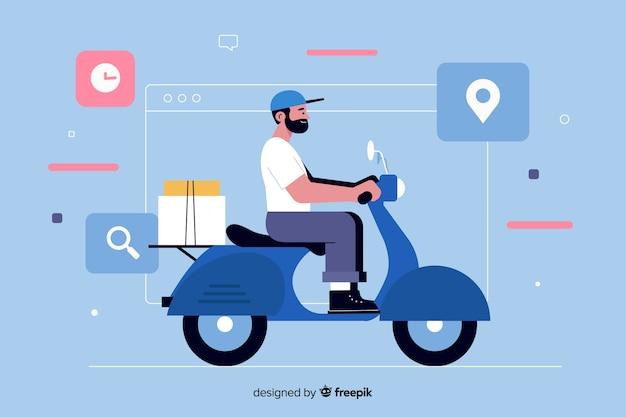 Homem na motoneta para a página de destino da entrega