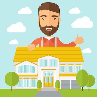 Homem na parte de trás do plano de estrutura da casa
